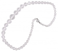Vintage Faceted Round Clear Glass Bead Necklace