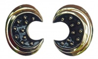 Courrèges Paris Gold Plated and Black Enamel Vintage Earrings