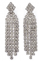 Silver Tone and Clear Diamante Drop Earrings, circa 1970s