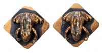 Anodized Copper Frog Clip On Earrings circa 1950s