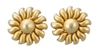 Erwin Pearl Satin Gold Tone Flower Earrings circa 1980s