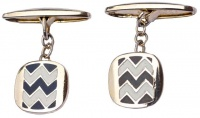 Vintage Pale Gold Tone Black and White Zig Zag Cufflinks
