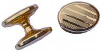 Vintage Oval Gold Plated Striped Cufflinks