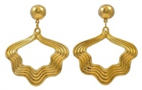 Gold Plated Wavy Hoop Earrings circa 1980s