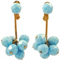 Copper Tone Light Blue Faceted Glass Ball Clip On Drop Earrings