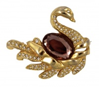 Gold Plated and Diamante Swan Brooch circa 1980s