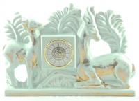 Mercedes Green and Gold Porcelain Deer Battery Clock