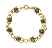 Krementz Gold Plated and Jade Ball Link Bracelet circa 1950s