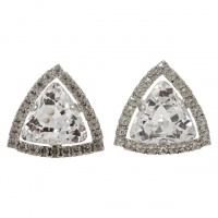 Large Silver Tone Clear Rhinestone Clip On Earrings circa 1960s