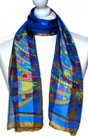 Laurel Burch Multi Colour Animal and Blue Background Silk Scarf