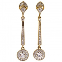 Long Gold Plated and Clear Diamante Drop Earrings circa 1980s