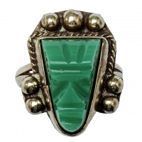Vintage Mexico Alpaca Green Onyx Mask Ring circa 1960s