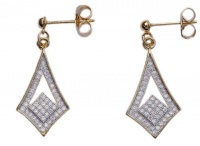 Modern Vintage Style Gold Plated Crystal Drop Earrings