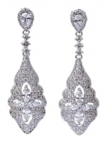 Vintage Style White Gold Plated Crystal Drop Earrings