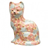 Vintage Blue Pink Brown Yellow Porcelain Sponge Cat Figurine