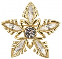 Napier Gold Plated and Clear Diamante Star Brooch circa 1980s
