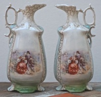 Antique Pair of Victorian Porcelain Jugs signed Fr Stahl