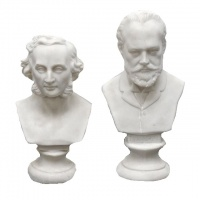 Pair of Small Biscuit Pottery Busts Mendelssohn and Tchaikovsky