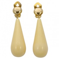 Pellini Gold Tone Cream Drop Statement Earrings circa 1980s