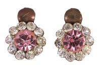 Gold Tone Clear and Pink Diamante Earrings circa 1930s