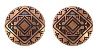 Mid Century Round Copper Geometric Clip On Earrings