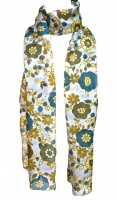 Long Grey, Blue, Green and Yellow Floral Silk Scarf