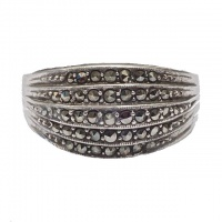 Art Deco Silver and Marcasite Five Row Ring circa 1930s