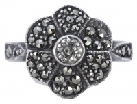 Art Deco Silver Marcasite Flower Ring circa 1930s