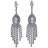 Silver Plated and Clear Diamante Chandelier Earrings circa 1970s