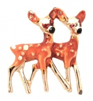 Vintage Pale Gold Tone Pair of Enamel Fawns Brooch