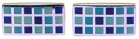 Modern Silver Tone Blue and Turquoise Squares Cufflinks