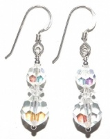 Sterling Silver and Aurora Borealis Drop Earrings