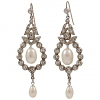 Sterling Silver and Cultured Pearl Diamante Drop Earrings