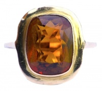 Citrine and 18ct Yellow Gold 14ct Rose Gold Ring circa 1950s