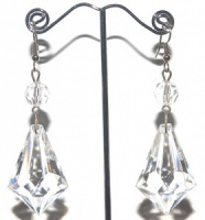 Vintage Clear Plastic Crystal Drop Earrings