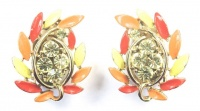 Vintage Diamante and Enamel Earrings by Lisner
