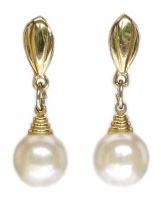 Vintage Gold Tone Faux Pearl Drop Earrings