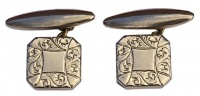 Vintage Gold Tone Scroll Design Cufflinks