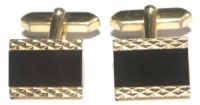 Vintage Gold Tone and Black Glass Cufflinks