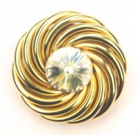 Vintage Gold Tone and Clear Rivoli Brooch