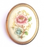 Lenox Vintage Porcelain Rose Flower Brooch