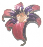 Vintage Pink and Purple Flower Cloisonne Brooch
