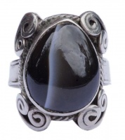 Silver and Cabochon Teardrop Banded Agate Ring circa 1970s