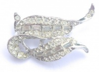 Vintage Silver Tone and Diamante Brooch by Hollywood