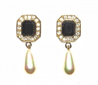 Roman Gold Tone Crystal and Black Glass Drop Earrings